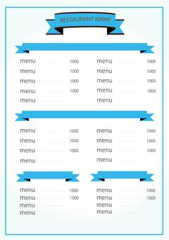 餐廳菜單藍色