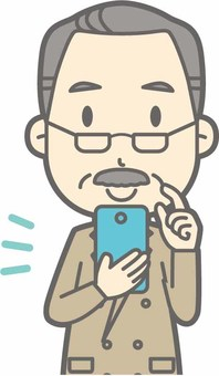 Middle age beard a - smartphone operation - bust