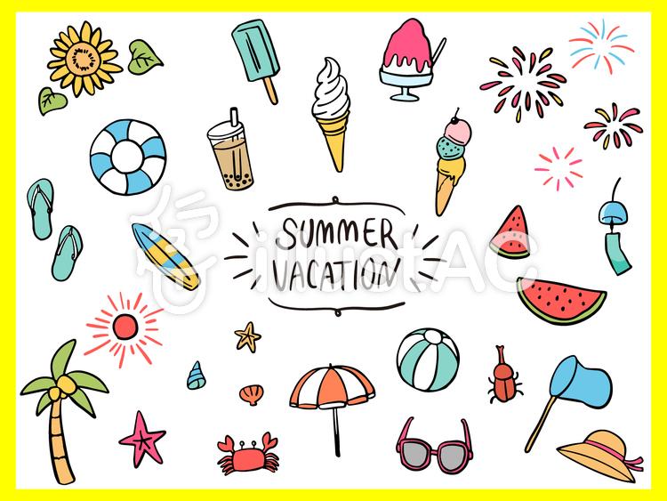 夏休み おしゃれ 線画 色付 詰め合わせのイラスト