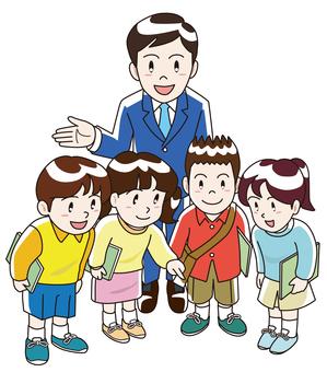 社交旅行和老師和孩子