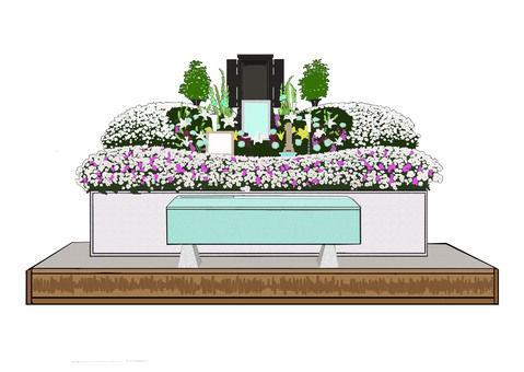 Funeral burial and fresh flower altar