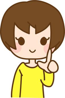指差し ショートヘアー 女性