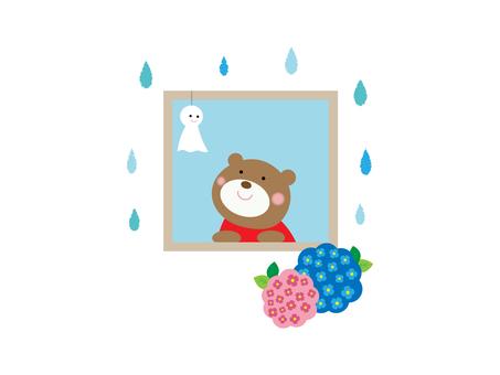 Kuma-chan rainy day illustration