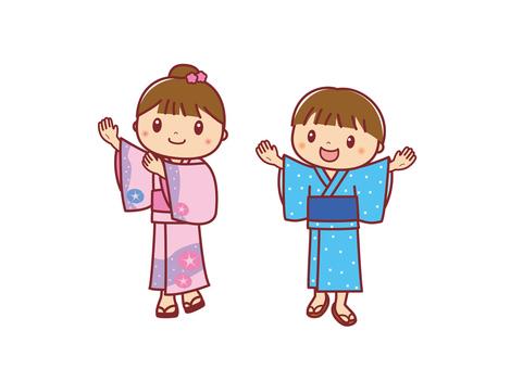 Bon Odori Yukata-style children illustrations