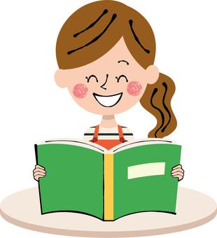 Reading book green female apron machine white