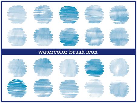 Watercolor texture icon-rough (blue)
