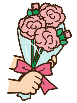 Hand hand over carnation <Pink>