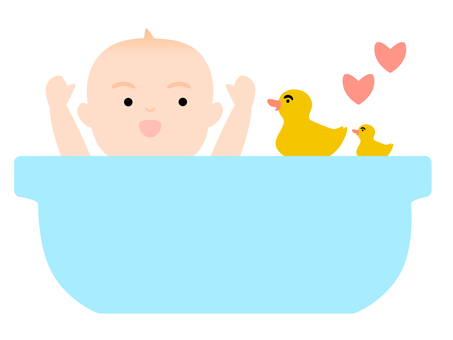 Baby playing in the bath