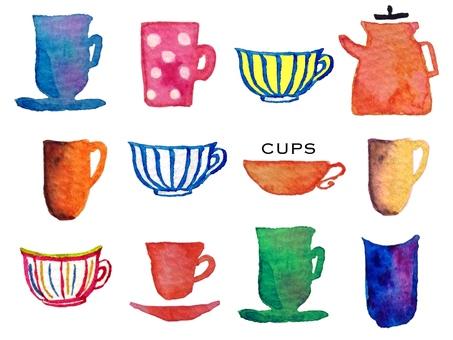 수채화 컵 컬렉션