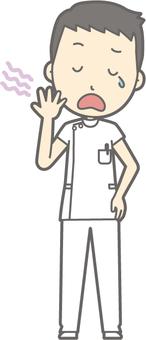 Male nurse - Yawning - whole body