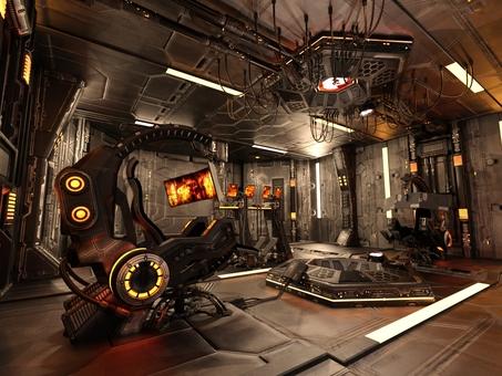 宇宙船内のコントロール・ルーム