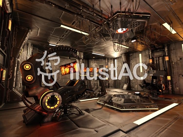 宇宙船内のコントロール・ルームのイラスト