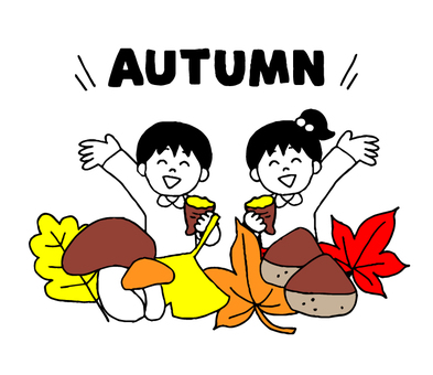 Autumn and children with letters (simple)