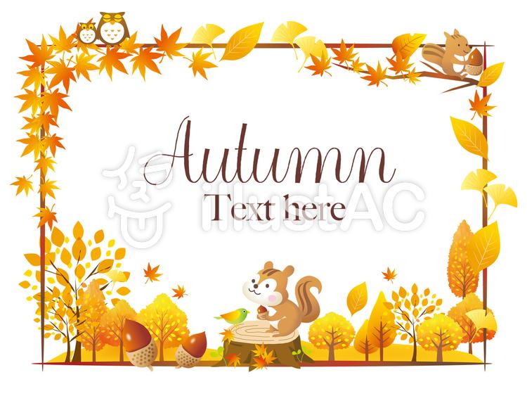 秋の木の葉と動物のフレームのイラスト