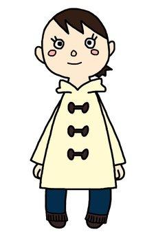 A girl in a duffle coat
