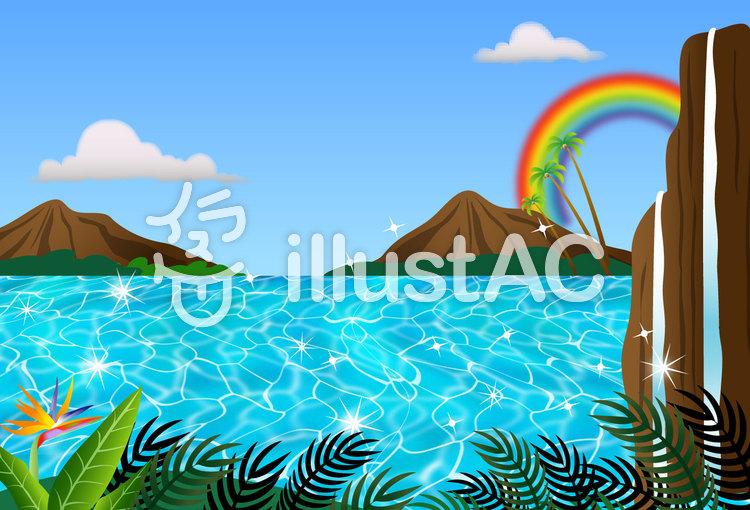 ハワイアンポストカード  風景のイラスト