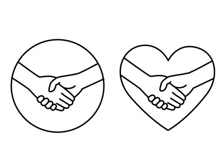 Two handshake marks (line drawing)
