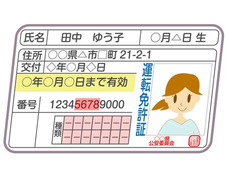 Driver's license woman diagonal