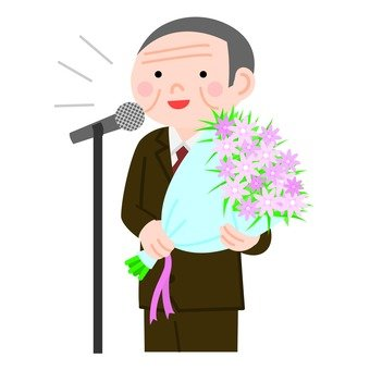 Veteran man who speaks while holding a bouquet