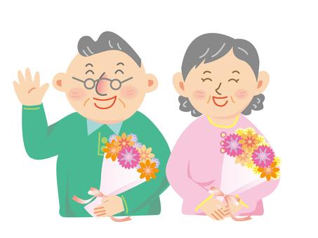 할아버지와 할머니 꽃다발
