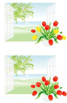 봄의 창가 튤립