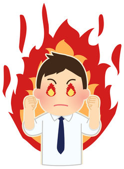 Illustration of a burning office worker