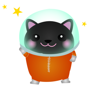 Astronaut black cat