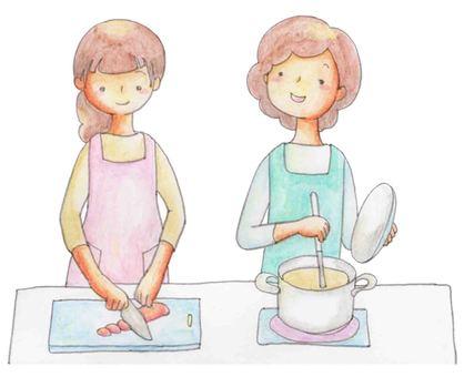 요리를하는 부모와 자식 02