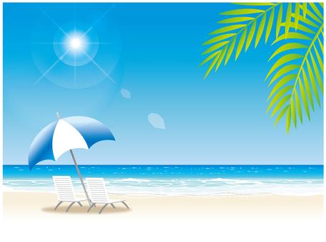 在夏天的海滩上
