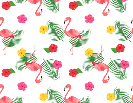 Flamingo and hibiscus patterns