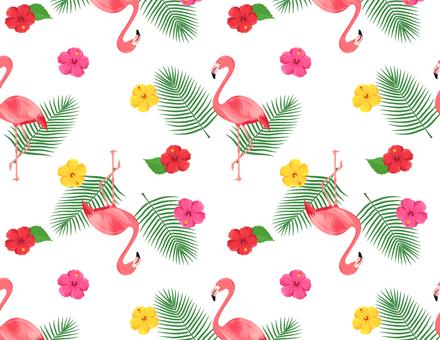 フラミンゴとハイビスカスのパターン