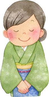 日本女服務員鞠躬