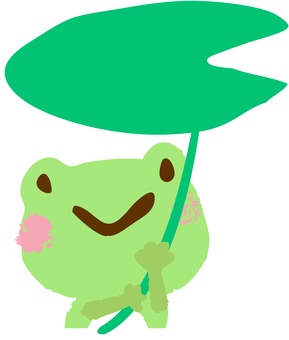 A frog pointing to a leaf's cow - an upper body