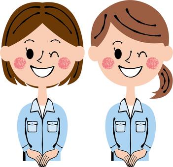 Worker Female 2 people Front window The upper body wink