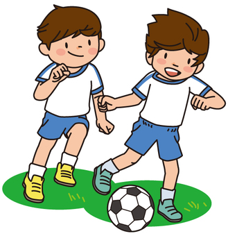 Elementary school student playing soccer