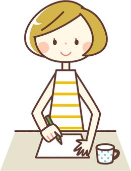 シンプルな人物_書類を記入する女性