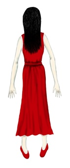 A ghost red clothes woman