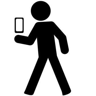 Walking smartphone pictogram