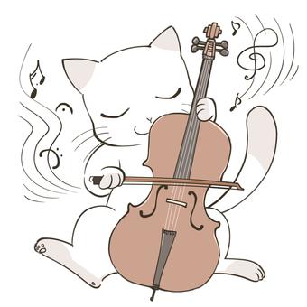 チェロを弾く猫