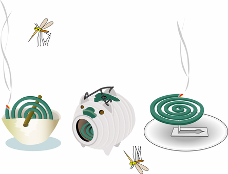 Three types of mosquito coil and a mosquito