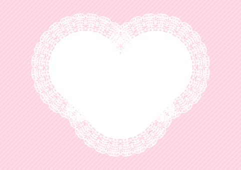 Heart-shaped lace frame pink background