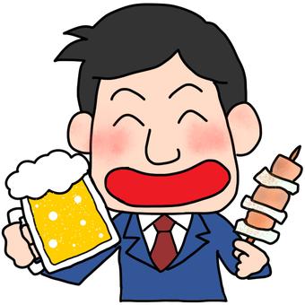 Illustration of men drinking beer