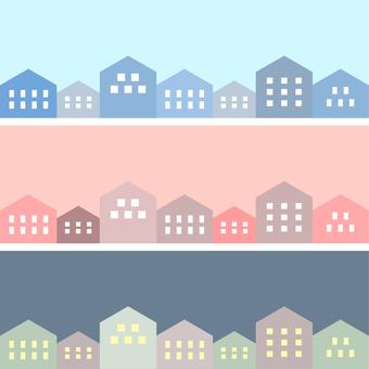 シンプルな街並のイラスト