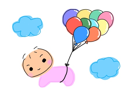 Baby flying with a balloon · Pink