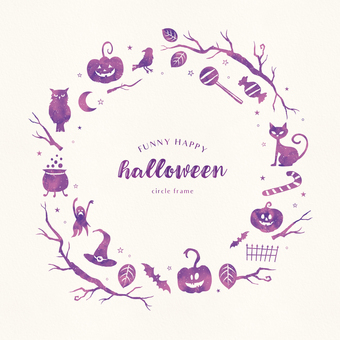 Halloween circle frame watercolor breeze