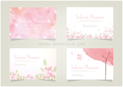 Cherry message card SET