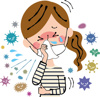 A woman coughing with a cold-flu masking chin