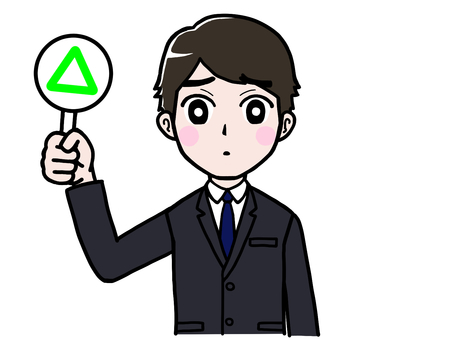 Male office worker in suit panel △ triangle