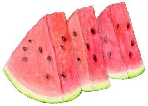 3 pieces of watermelon