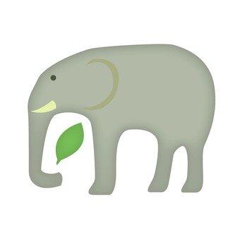 Elephants and leaves